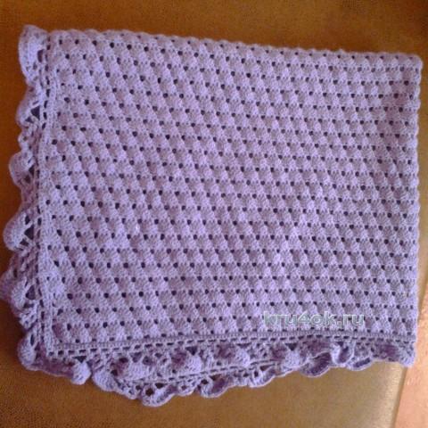 Сиреневый плед крючком. Работа Натальи вязание и схемы вязания