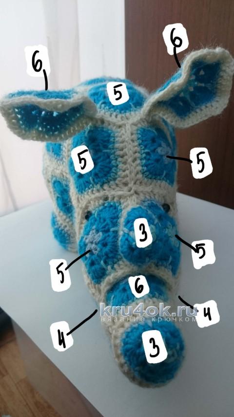 Вязаная крючком игрушка носорог. Работа Ксении Никоновой вязание и схемы вязания