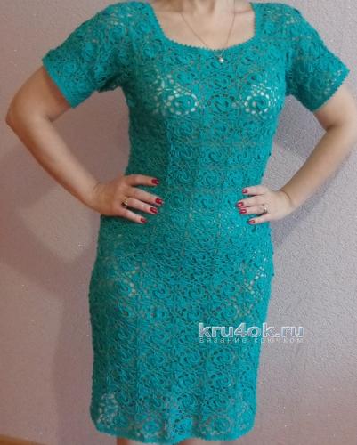 Вязаное женское платье. Работа Надежды Лавровой вязание и схемы вязания