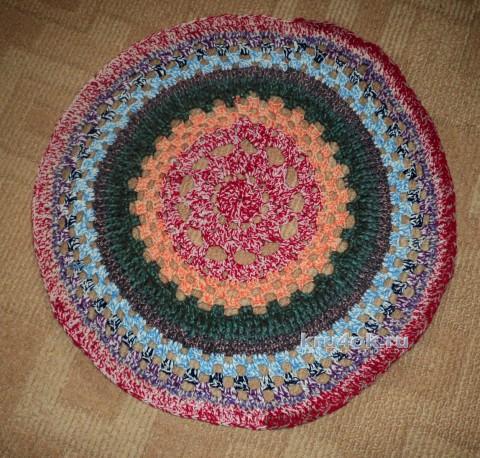 Вязаный коврик. Работа Ольги вязание и схемы вязания