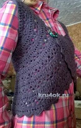 Жилет - болеро крючком. Работа Елены вязание и схемы вязания