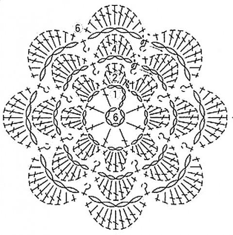 Схема вязания брошки: