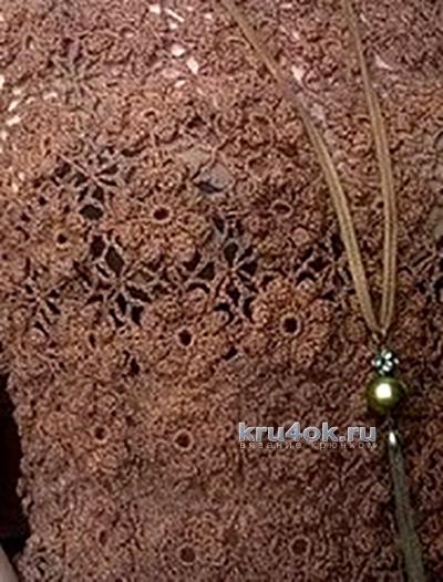 Ажурная кофточка крючком. Работа Елены вязание и схемы вязания