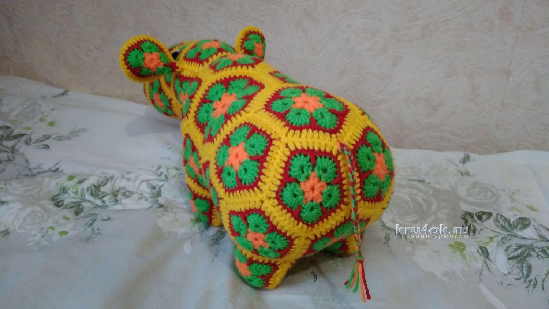 d1181acc5742 Бегемот из мотивов Африканский цветок крючком. Работа Ксении вязание и  схемы вязания Увеличить. интересная ...