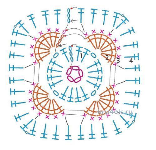 Африканский цветок вязание крючком схема