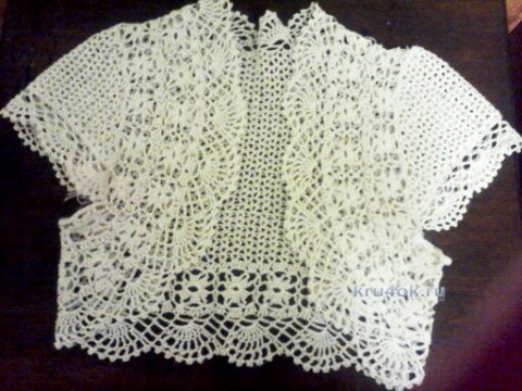 Болеро крючком. Работа Марины вязание и схемы вязания
