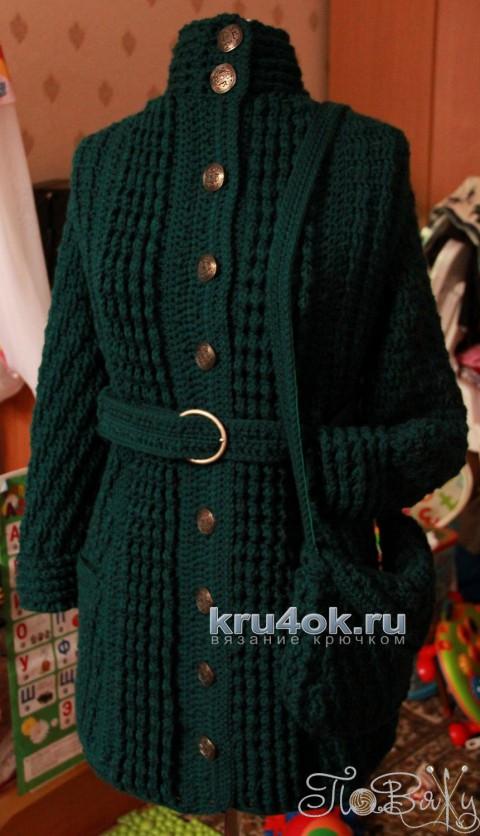 Пальто и сумочка крючком. Работы Елены Петровой вязание и схемы вязания