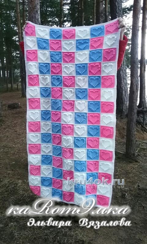Плед Сердечный от Эльвиры Вязаловой вязание и схемы вязания
