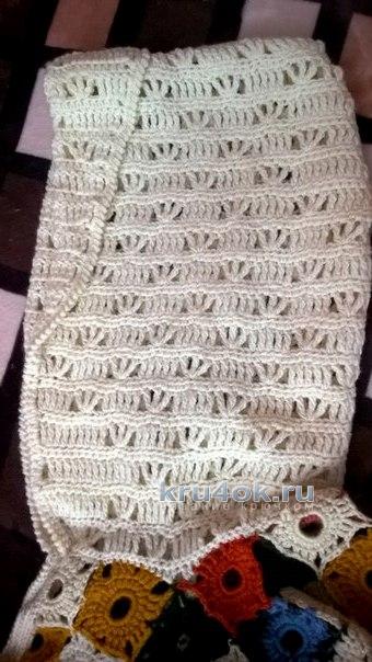 Вязаное крючком пальто. Работа Елены вязание и схемы вязания