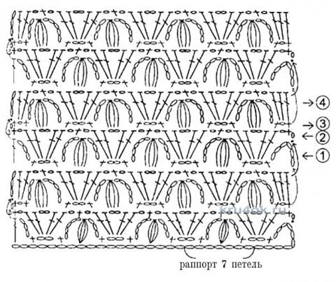 Вязаный крючком жилет. Работа Елены вязание и схемы вязания