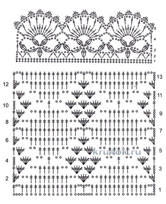 Вязание крючком схемы палантины японские 128