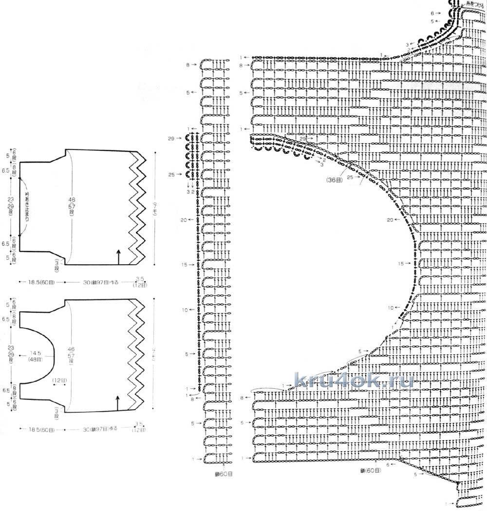 схема убавления петель в шали филейная вязка крючком
