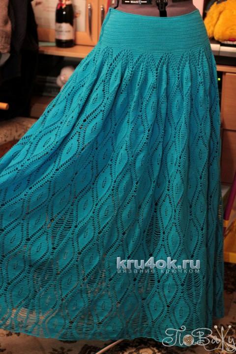 ШИКАРНАЯ длинная юбка Бирюза. Работа Елены Петровой