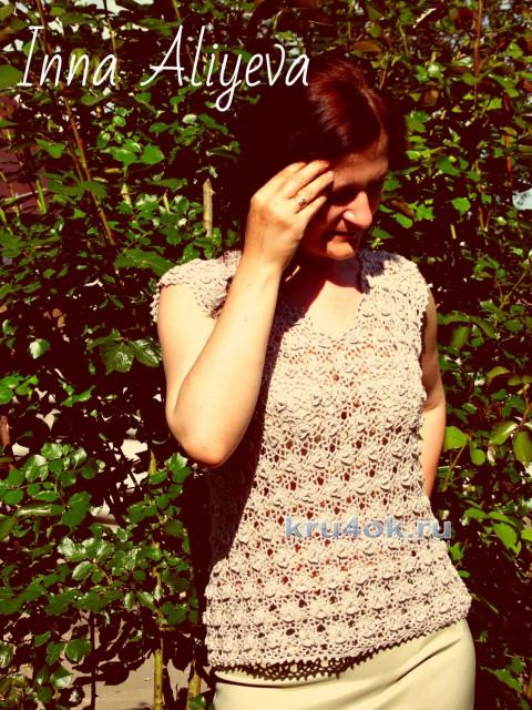 Ажурный топ цветочными мотивами. Работа Inna Aliyeva вязание и схемы вязания