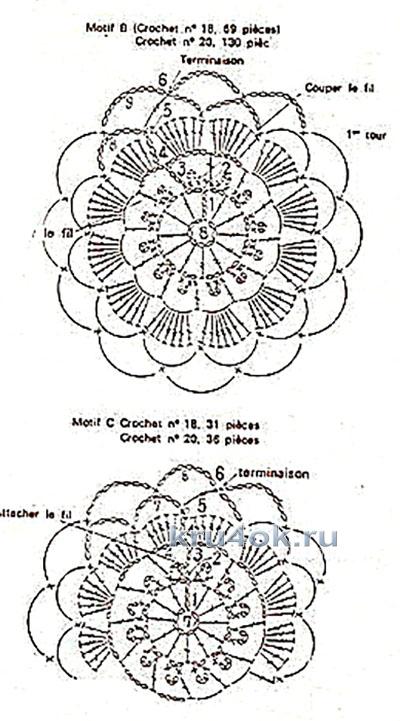 Ажурный жакет из мотивов. Работа Елены вязание и схемы вязания