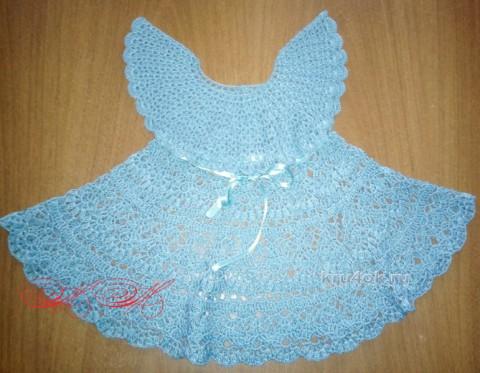 Бирюзовое платье для девочки. Работа Марины Михайловны вязание и схемы вязания