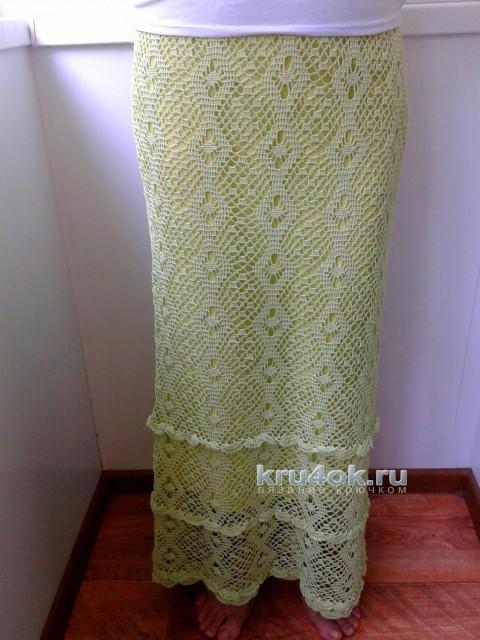 Длинная юбка крючком. Работа Евгении Руденко вязание и схемы вязания