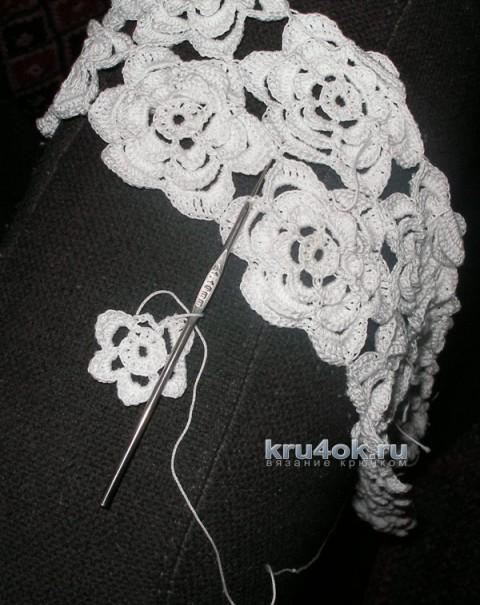 Платье для девочки Белые розы. Работа Елены вязание и схемы вязания