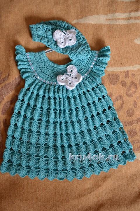 Платье и берет для девочки. Работы Натальи Ждановой вязание и схемы вязания