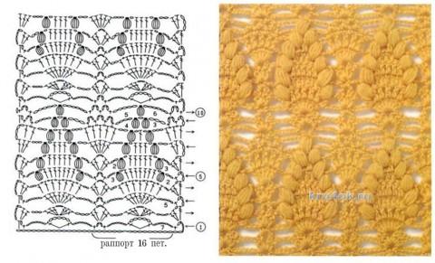 Плед крючком Изысканный. Работа Алины Николаевой вязание и схемы вязания