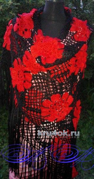 Шаль из квадратных мотивов. Работа Марины Михайловны вязание и схемы вязания
