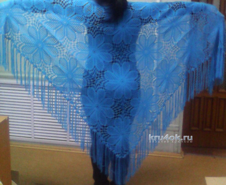 голубая ажурная шаль крючком схема ракушки
