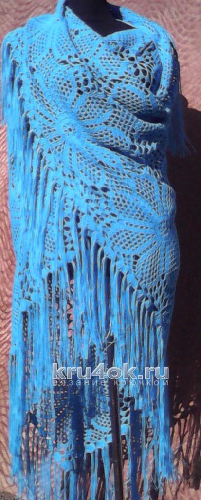Шаль крючком. Работа Марины Михайловны вязание и схемы вязания