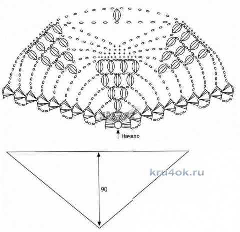 Шаль Виноградная лоза. Работа Марины Михайловны вязание и схемы вязания