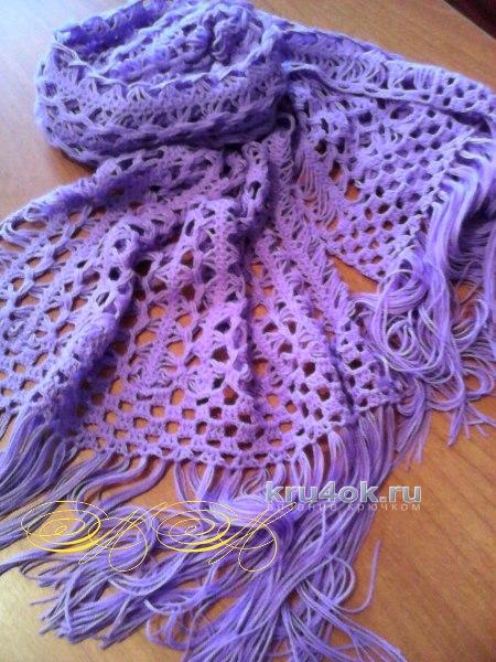 Сиреневый палантин. Работа Марины Михайловны вязание и схемы вязания