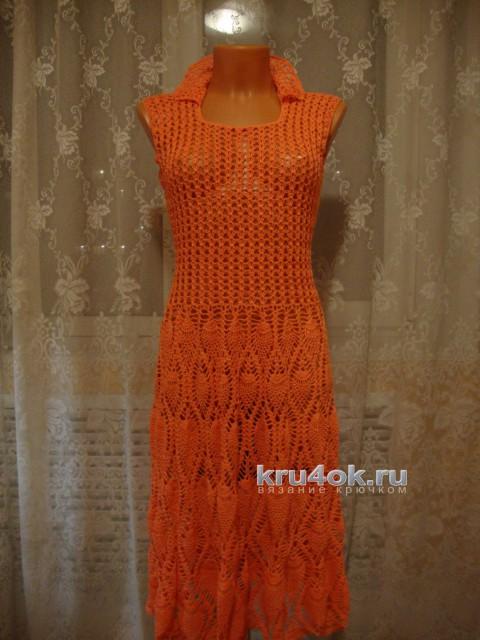 Вязаное платье. Работа Марии вязание и схемы вязания