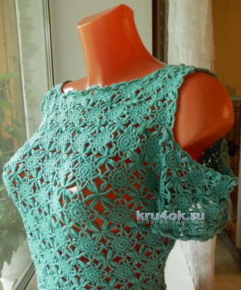 Ажурное летнее платье. Работа Елены Мерцаловой вязание и схемы вязания