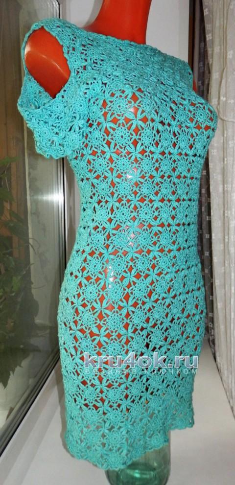 Ажурное летнее платье из мотивов крючком
