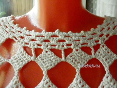 Белая сетчатая кофточка крючком. Работа Елены Мерцаловой вязание и схемы вязания