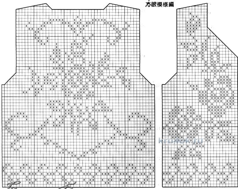 Схема кофточек филейной сеткой