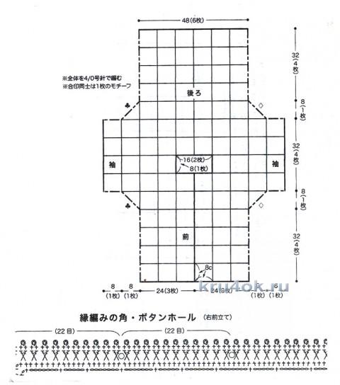 Летняя кофточка из квадратных мотивов вязание и схемы вязания