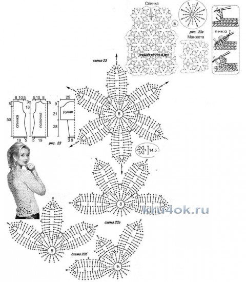 Летняя кофточка Сияние сапфира. Работа Тамары Матус вязание и схемы вязания