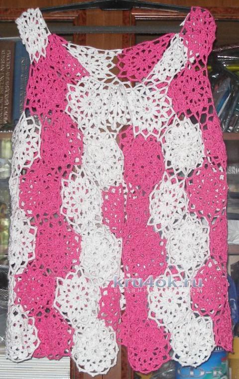 Летняя жилетка из мотивов. Работа Елены вязание и схемы вязания