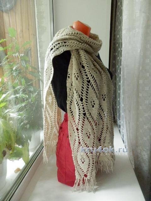 Палантин крючком. Работа Елены Мерцаловой вязание и схемы вязания