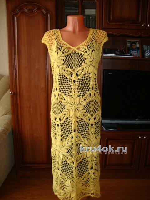 Платье связанное крючком. Работа Марии вязание и схемы вязания
