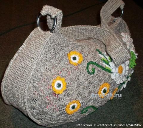 Сумочка Цветы на песке. Работа Натальи Царенко вязание и схемы вязания