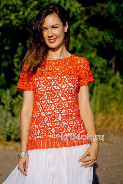 Топ крючком Оранжевое вдохновение. Работа Анжелы вязание и схемы вязания