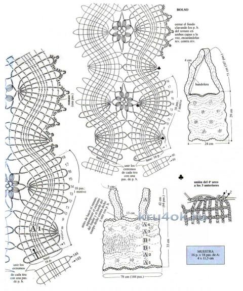 Топ в технике ленточного кружева. Работа Елены Мерцаловой вязание и схемы вязания