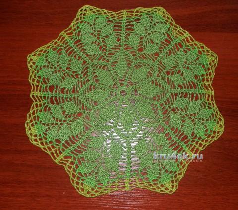 Зеленая вязаная салфетка. Работа Анны вязание и схемы вязания