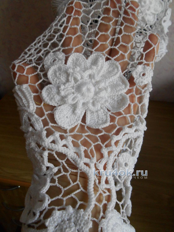 схема платья крючком загадка завитков ленточных кружев