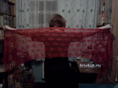 Палантин Ромашка. Работа Снежаны вязание и схемы вязания