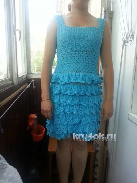 Платье крючком. Работа Екатерины вязание и схемы вязания