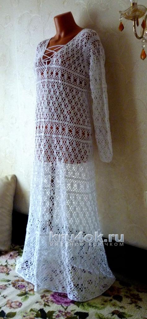 Платье крючком. Работа Олеси Петровой вязание и схемы вязания