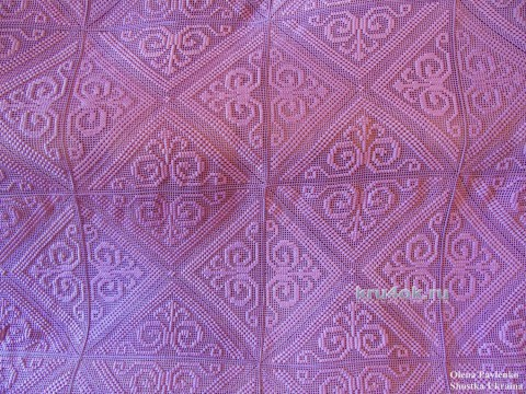 Вязаное покрывало Полтавчанка. Филейная техника