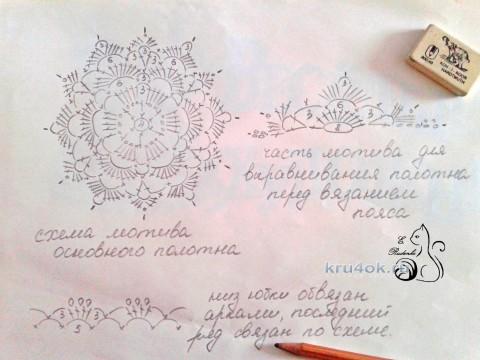 Юбка Классика крючком. Работа Евгении Руденко вязание и схемы вязания