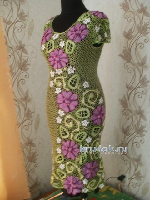 Женское платье крючком. Работа Шаповал Надежды вязание и схемы вязания